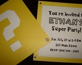 Super Mario Brothers Block Customized Invitation