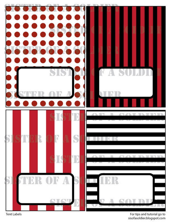 Pirate Party Food Labels - Tent Labels - Printable PDF