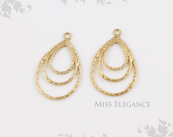2 pcs Multi Teardrop Pendants, Matte Gold Plated Unique Jewelry Findings // 20mm x 32mm // 5568-MG