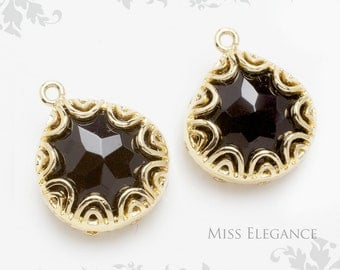 2 pcs Black Faceted Glass Stone Pendants, Gold Plated over Brass Unique Jewelry Findings  // 16mm x 13mm // G02-21-BG