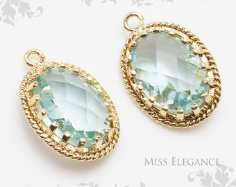 2pcs Aqua Oval Faceted Glass Stone Pendants, Gold Plated Over Brass Unique Jewelry Findings  //  13mm x 17mm // G9002-MG