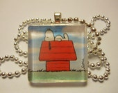 Snoopy Glass Tile Pendant - Free Shipping
