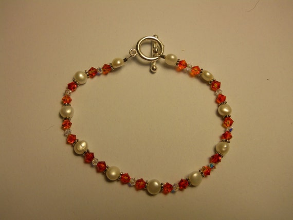 Pearl and Crystal Bracelet - marked down - clearance!