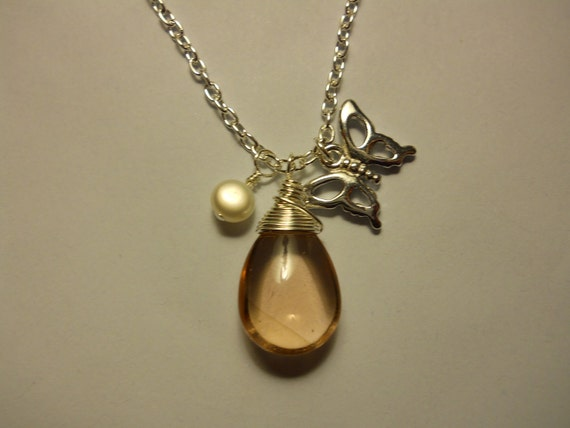 Wire Wrapped Pink Smooth Glass Teardrop Pendant With Pearl And Butterfly Charm - marked down - clearance!