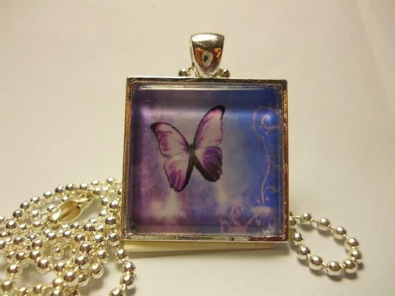 Purple Butterfly Glass Tile Pendant Set On A Silver Bezel
