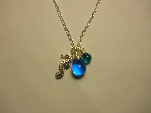 Wire Wrapped Aqua Glass Teardrop Pendants and Charm - Free Shipping