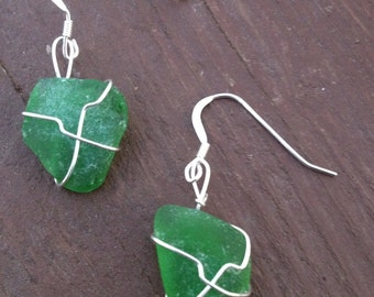Green Seaglass Sterling Earrings
