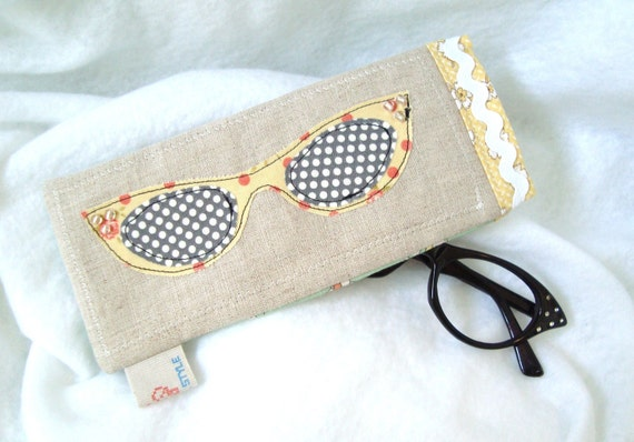 Retro glasses appliqued eyeglass sunglasses pouch