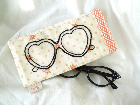 Hand embroidered Heart Shaped sunglasses eyeglasses case pouch