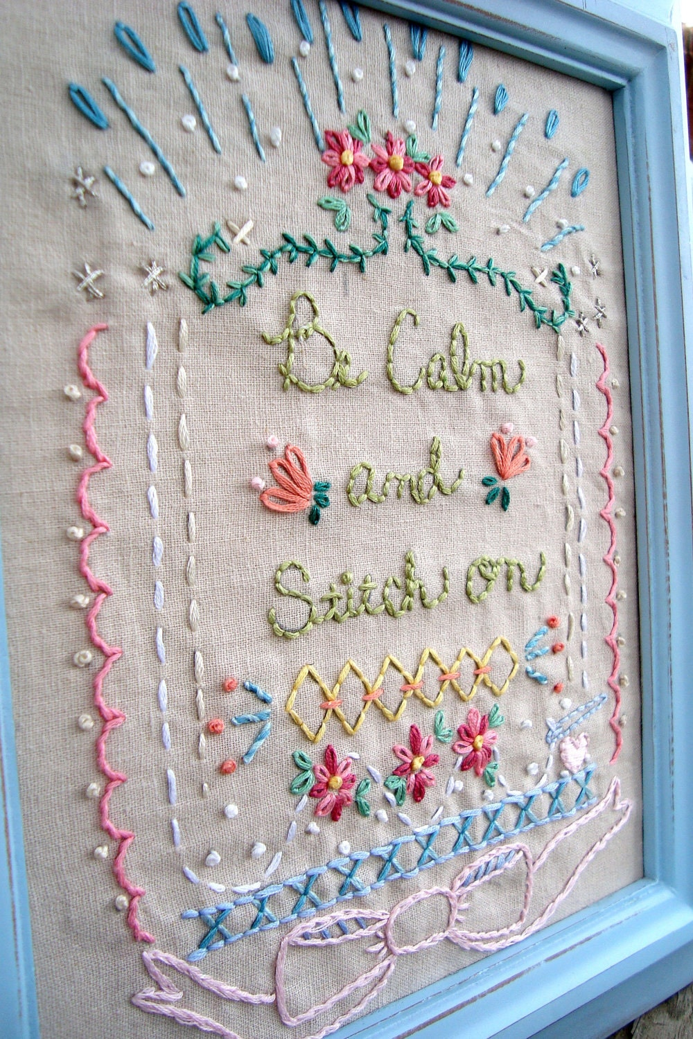 Be calm and stitch on embroidery pattern sampler pdf instant