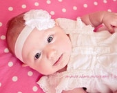 Baby Girl Headband. Shabby Rose Flower Headbands for Newborn, Infant, Toddler, Teen. Many Colors. Handmade baby shower gift.