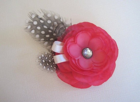 Baby Girl Hair Clip. Pink Ranunculus with feathers for baby to adult. Baby Shower Gift or Wedding. Handmade.