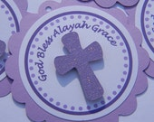 Baptism Favor Tags-Lavender and Purple QTY 12