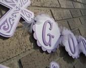Baptism Banner God Bless Banner and Name Banner-Lavender