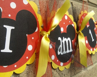Mickey Mouse Inspired I Am 1 High Chair Banner