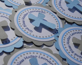 Baptism Favor Tags Light Blue Dark Blue and Gray QTY 12