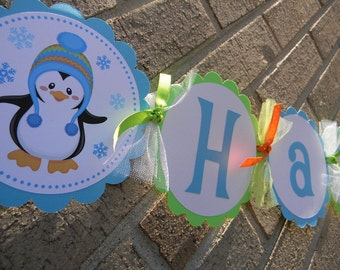 Cute Boy Penguin Happy Birthday Banner Winter Onederland Winter Wonderland 1st Birthday