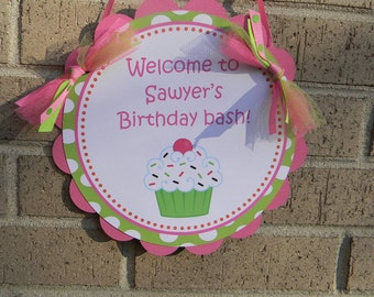 Sweet Cupcake Collection Welcome Sign Bright Pink and Green