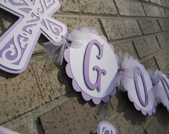 Baptism Banner God Bless Banner and Name Banner-Lavender