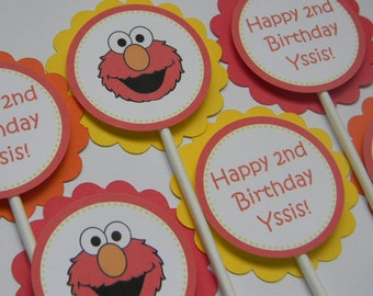 Elmo Inspired Cupcake Toppers Red Orange and Yellow Set of 12