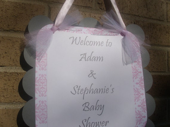 Baby Shower Welcome Door Sign Pink and Gray XL
