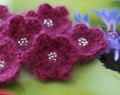 Berry Flowers Small Beaded Crochet Kid Mohair and Wool Set of 6