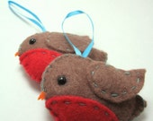 Peyton and Terry - pair of robin bird plushie ornaments