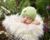 BABY HAT, newborn photography prop-light green beanie hat- newborn-2 months-soft to skin wool blend yarn-baby shower gift