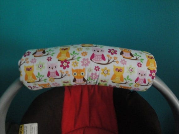 Reversible  Arm Pad Handle Cover - Pink Whimsical Owls