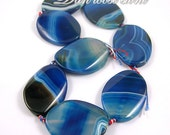 Charm Blue Striped Agate Waved Oval Loose Beads 30plus40mm-8pcs Strand Top Quality
