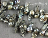 AA Freshwater Pearls Top Drilled Tail Dancing Black Gray Loose Pearl 7.0-8.0mm 56Pcs Full Strand Item No : PL8001