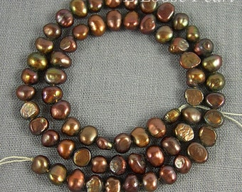 Corn Freshwater Pearl Potato pearl seed pearl Loose pearls necklace Brown 6.0-6.5mm 58pcs Full Strand PL1059