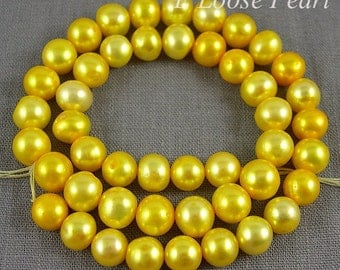 Potato pearl,Large hole pearl Freshwater Pearl 8.5-9.5mm Round pearl,Yellow loose pearl Necklace pearl 45pcs Full Strand PL2060