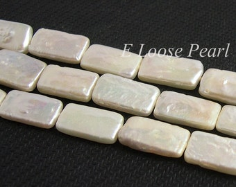 Genuine Rectangle Freshwater Pearl Ivory White Loose pearl earring bead 8.0-8.5mm 25pcs Full Strand Item No : PL4069