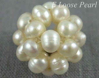 Natural White Pearl Cluster Ball Freshwater Pearl wholesalepearl, loose pearl Necklace pearl 17mm 2pcs Bridal design wedding