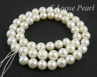 Round pearl Large hole pearls Freshwater Pearl Natural White Potato pearl Loose pearl Beads 7-7.5mm 56pcs Full Strand PL2017