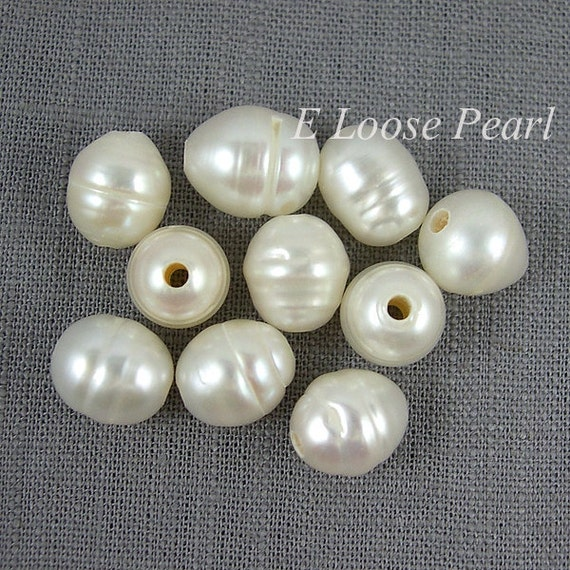 Nugget Large Hole Pearl White Rice Pearl Freshwater Pearls 9.5-10mm X 10-11mm 10 Pieces 2mm Hole