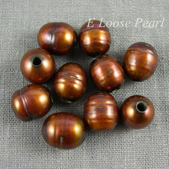 Freshwater Pearls Brown Color Nugget Large Hole Pearl 10-10.5mm X 11-12mm 10 Pieces Rice Pearl 2.5mm Hole