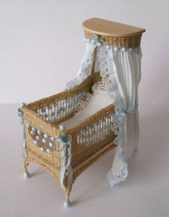 Adorable Detailed Wicker Crib for a Special Baby 1/12th