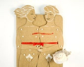 Gay couple - Articulated Paper Dolls with Greeting Card by Dubrovskaya. Kraft paper, hand painted, MADE TO ORDER.