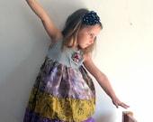 Girls summer dress. Flower Dress. Lavender Beauty Sun dress.Tea Party Ruffle Dress. Size 4T. Free Shipping.