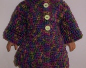 Multi-colored car coat, tam and boots for the American Girl Doll.