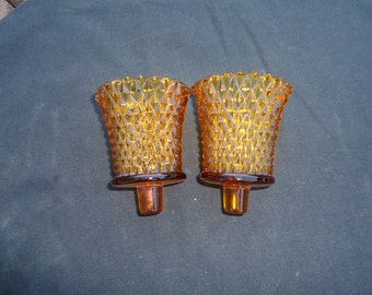 Amber Diamond Point Peg Votive Candle Holders