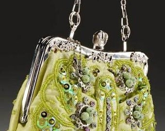 Lime green beaded sequined  purse with interchangeable chain strap handles - Fabulous