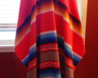 Poncho Multi-Colored, Southwestern, Red Blue Green Yellow Black