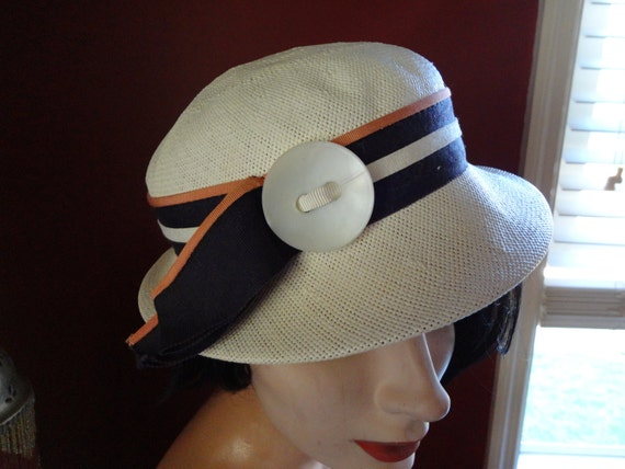 50's Hat with wide striped ribbon