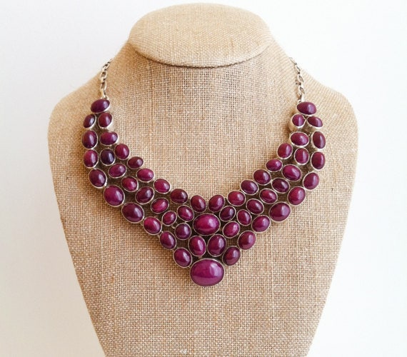 Vintage Sterling Silver Ruby Necklace