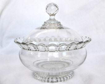 Vintage Covered Glass Bowl with Faceted Handle