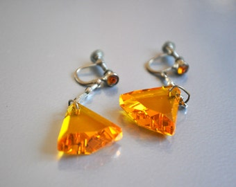 Czech Glass Earrings Signed Amber Colored
