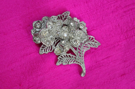 RESERVED FOR AMY Vintage Rhinestone Brooch Pin Filagree Floral Spray Flower Silver Sparkle